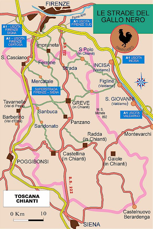 Chianti classico - towns and vineyards